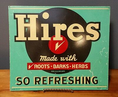 """Vintage Hires Root Beer Tin Soda Pop Sign AAA Sign Co. Coitsville, Ohio - 13.5"""""""