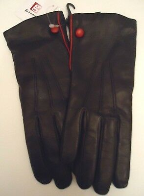 Ladies Grandoe 100% Cashmere Lined Red Button Genuine Leather Gloves,Black,Small