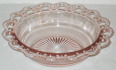 """Anchor Hocking LACE EDGE/OLD COLONY PINK *9 1/2"""" PLAIN BOWL*"""