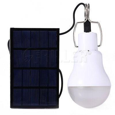 LED Solar Panel Powered Light Portable Outdoor Camping Tent Fishing Bulb Lamp