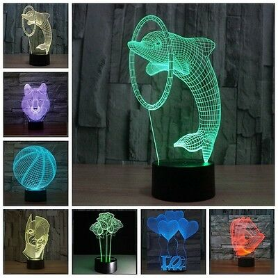 Hot 3D Yoga Meditation Night Light 7 Color Change LED Desk Table Lamp Xmas Gift