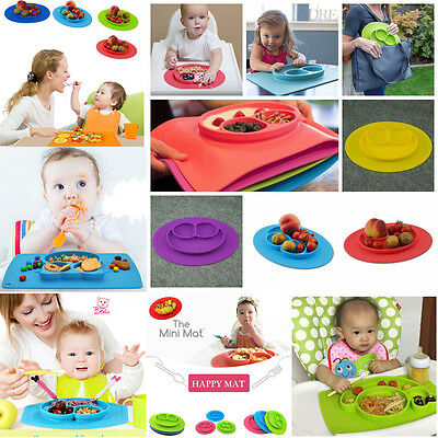 Happy Ezpz One-Piece Silicone Child Kids Plates Baby Food Divided Bowl Placemat
