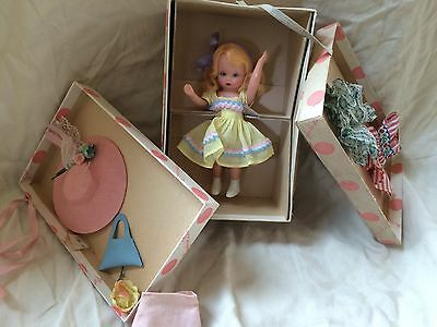 1950s Vintage Nancy Ann Storybook Doll in Wardrobe Chest. Includes extra dresses