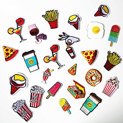 11pcs Fast Food Embroidered Sew Iron On Patch Badge Hat Bag Cloth Applique Craft