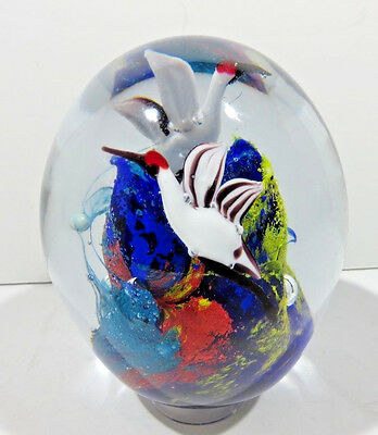 Vintage Egg Shape Art Glass Paperweight