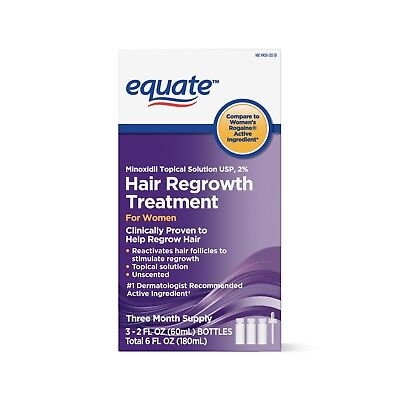 Equate Hair Regrowth Topical Solution for Women, 2 fl oz, 3 Count