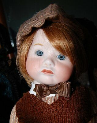 Vintage French Boy Doll SFBJ 252 CHARACTER POUTY Repro Compo Body Human Hair Wig