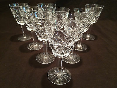 Set Of 9 Waterford Crystal Wine Glasses In The Ashling Pattern