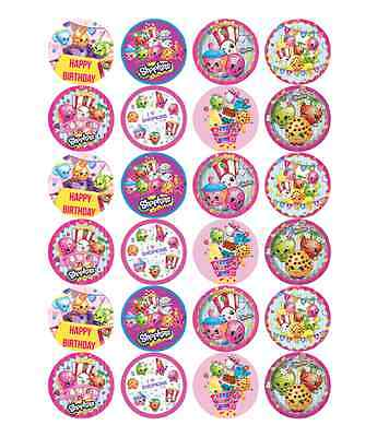 24 x Large Shopkins Edible Cupcake Toppers Birthday Party Cake Decoration