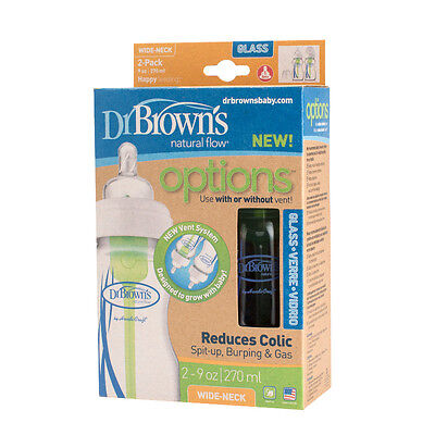 Dr Brown's 270ml Options Glass Baby Bottle Wide Neck Twin Pack Dr Browns