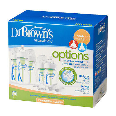 Dr Brown's Options Newborn Anti Colic Wide Neck Baby Bottle Gift Set Dr Browns