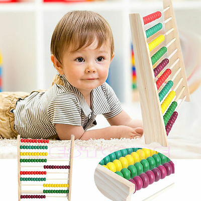 10-row Wooden Abacus Counting Colorful Beads Maths Learning Educational Kid Toy