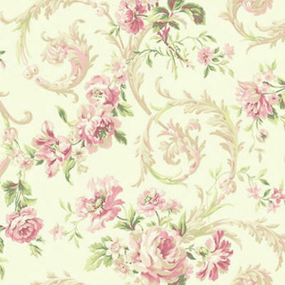 Dollhouse Miniature Small Scale Computer Printed Fabric Tan Pink Cotton #6