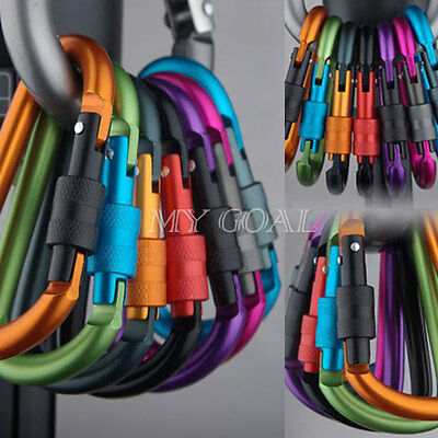 6/12 Pcs EDC Aluminum D-Ring Screw Lock Hook Carabiner Outdoor Camping Rucksack