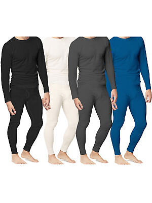 Mens Thermal Underwear Set Top Bottom Waffle Knit Cotton Long John