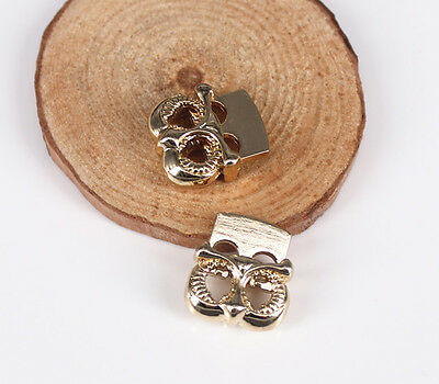 10pcs Gold Tone Metal Stopper Toggle Owl Buckle Cord Locks Drawstring Stops End