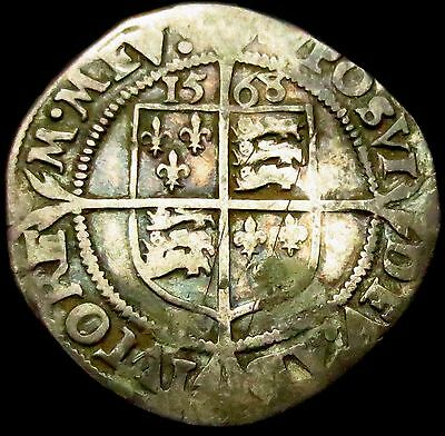 S461: 1568 over 7 Dated Elizabeth 1st Hammered Silver Sixpence, im Coronet