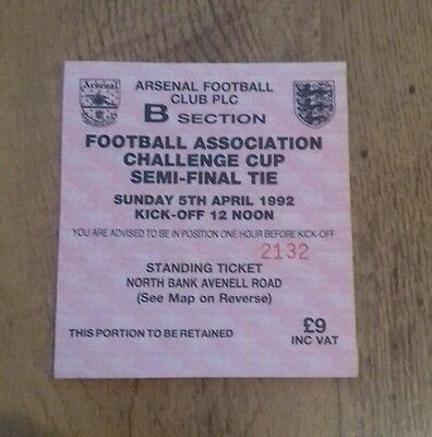 1992 fa cup semi final ticket stub  Liverpool v Portsmouth 13
