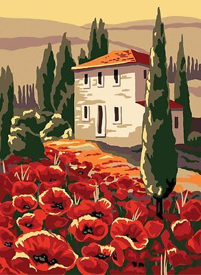 "Collection D'Art Printed Tapestry Canvas ""House and poppies"""