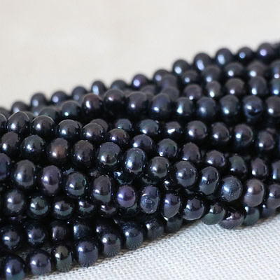 New 7-8mm natural cultured freshwater black pearl loose beads 15""