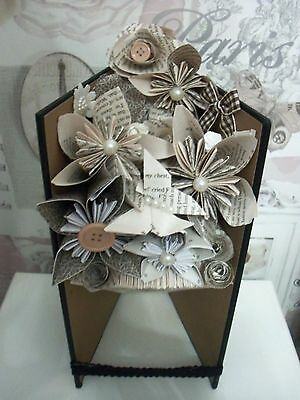 handmade book folded art vase and flowers valentines,birthday,thank you gift