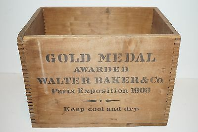 Antique Walter Baker & Co. Premium Chocolate Finger Jointed Wooden Crate