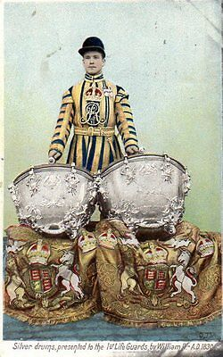 """""""""""POSTCARD SILVER DRUMS PRESENTED TO THE 1st LIFEGUARDS BY WILLIAM II,DATED 1905"""