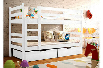 Emily WHITE/PINE/BLUE WOODEN Bunk Bed with Mattresses & Storage NEW Free P&P