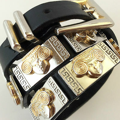Vintage 80's black leather + gold metal belt - Made in Italy - GIANNI VERSACE