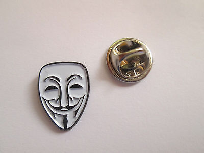 Anonymous Mask Plated Metal  and Enamel Lapel Pin Badge- L037