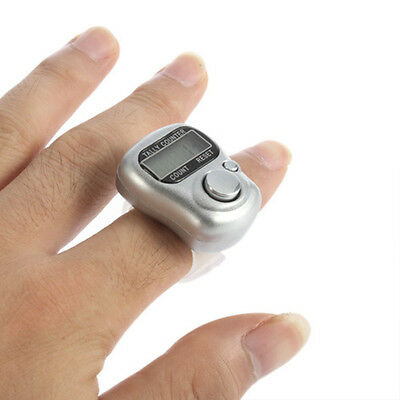 ~Silver 5 Digit Mini LCD Electronic Digital Golf Finger Hand Ring Tally Counter@