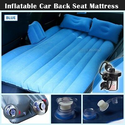 Heavy Duty Inflatable Blue Car Back Seat Mattress Travel Camp Sleeping Air Bed