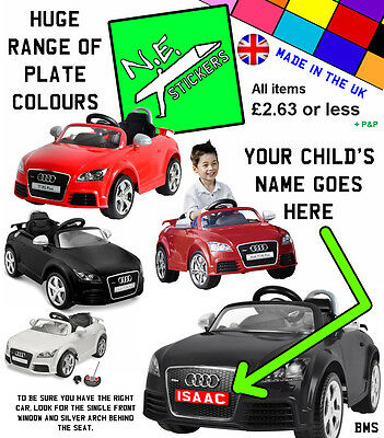 Personalised FRONT kids Number Plate: KID MOTORZ 6V Audi TT RS ride-on toy car