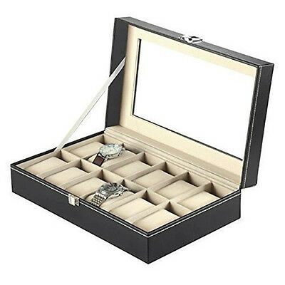 2/10/12 Watch Display Box Case Faux Leather