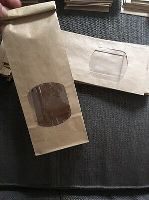 10 Kraft Tin Tie Paper Bags With Viewing Window. Weddings, Snacks Ect