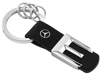 Genuine Mercedes-Benz - Stainless Steel Black Leather E Class Keyring B66957998