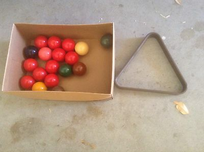 Full Set Snooker Balls Plus Triangle In Good Condition