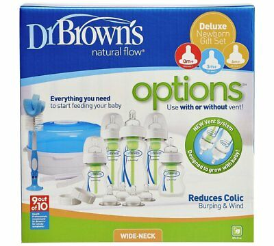 Dr Browns Deluxe Newborn Sterilising Kit and Wide Neck Anti Colic Baby Bottles