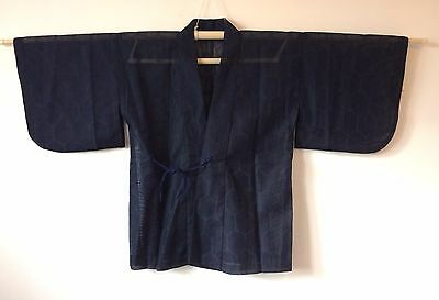 Authentic Japanese see through navy blue haori jacket for women, good c. (K848)