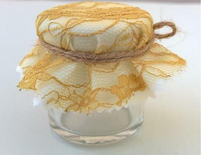 Set of 10 Shabby Mini Jam Jars Wedding Favours Vintage Style Jam Jar Gold Lace