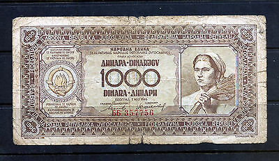 Yugoslavia 1946 1000 Dinar Banknote Worn Condition Minor Faults: Two Scans