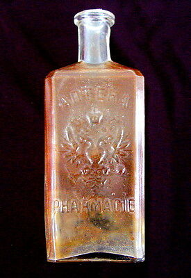 Antique Large Russian Medical Bottle, Imperial Double Headed Eagle, 19th Century
