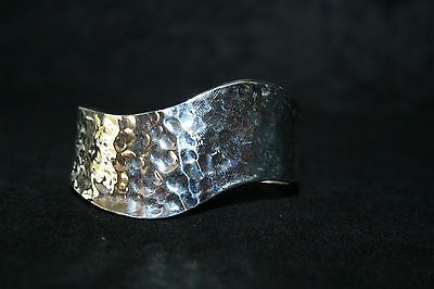 Stunning Mexican 999 Silver Plated Bangle Hammered Effect Chunky Contemporary