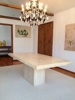 Italian 8 Seater Travertine Table, matching buffet unit , dining chair & mirror