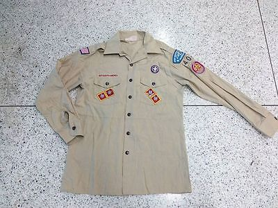 Used BOY SCOUTS OF AMERICA Uniform OFFICIAL MENS SHIRT KHAKI L/S Adult MED 44""