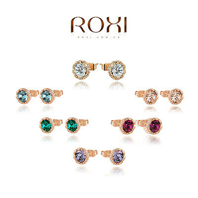 Colorful Austrian Crystal 18K Rose Gold Plated Ear Stud Earrings Women Jewelry