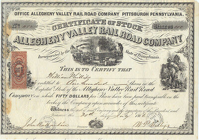 USA Amerika Allegheny Vallley Railroad alte Aktie 1866 Eisenbahn RAR