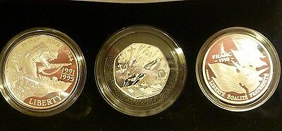 1994 THREE COIN SILVER PROOF SET 50th ANNIVERSARY OF THE ALLIED INVASION + COA'S