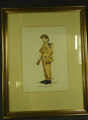 Military WW2 Watercolour Painting 1/4th Bn The Hampshire Regiment Signed (4328)