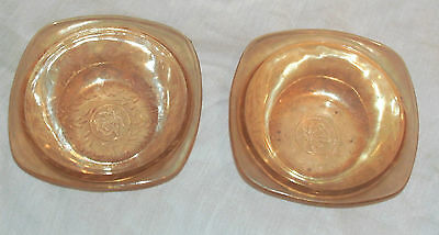 2 Antique Floragold American Depression Glass Bowls In Good Condition